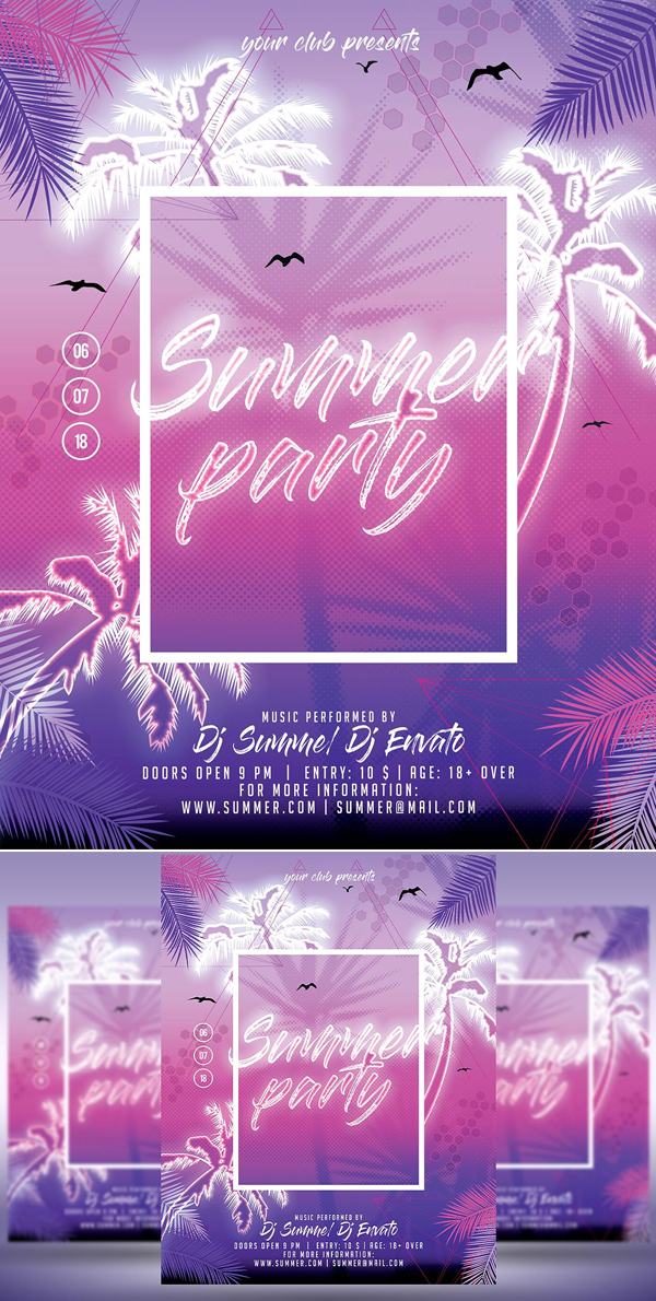 Summer Party Flyer Poster Design