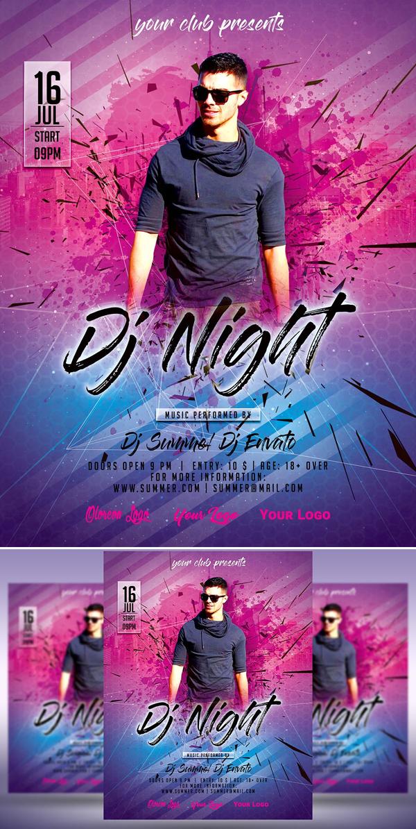 DJ Night Summer Party Flyer Poster