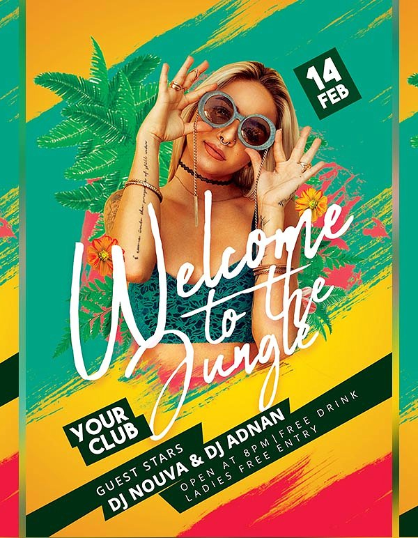 Welcome to the jungle Party Flyer Design