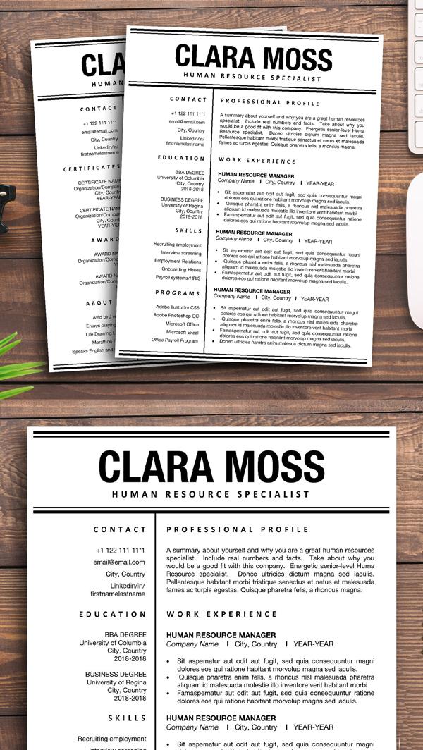 Resume Template Word | HR Resume CV