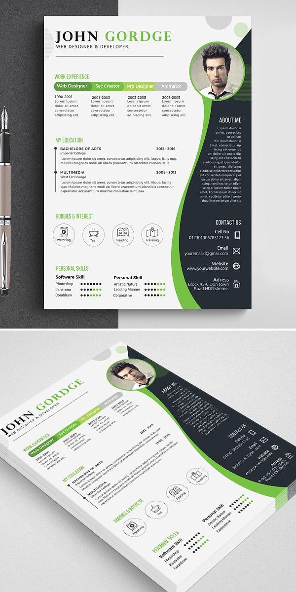Stylish CV Resume Word Template