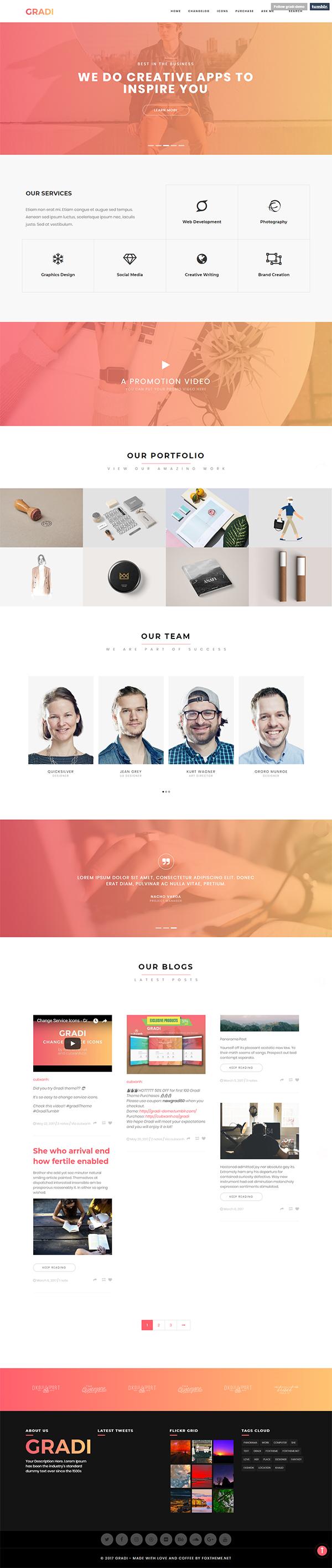 Gradi - Fresh Tumblr Theme for Modern Businesses and Startups