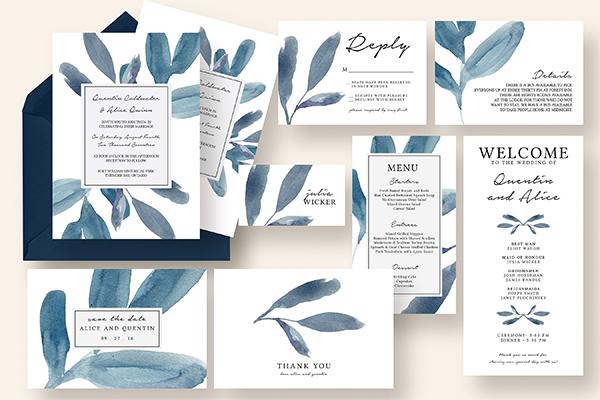 Blue Watercolor Leaves Wedding Suite