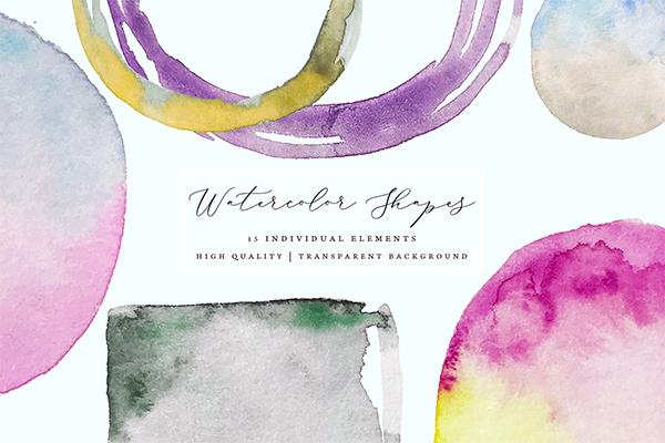 Watercolor Frames - Splotches, Brush