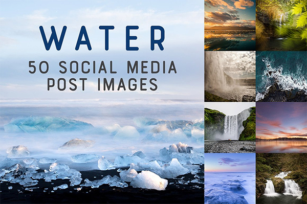 50 Social Media Backdrops - WATER