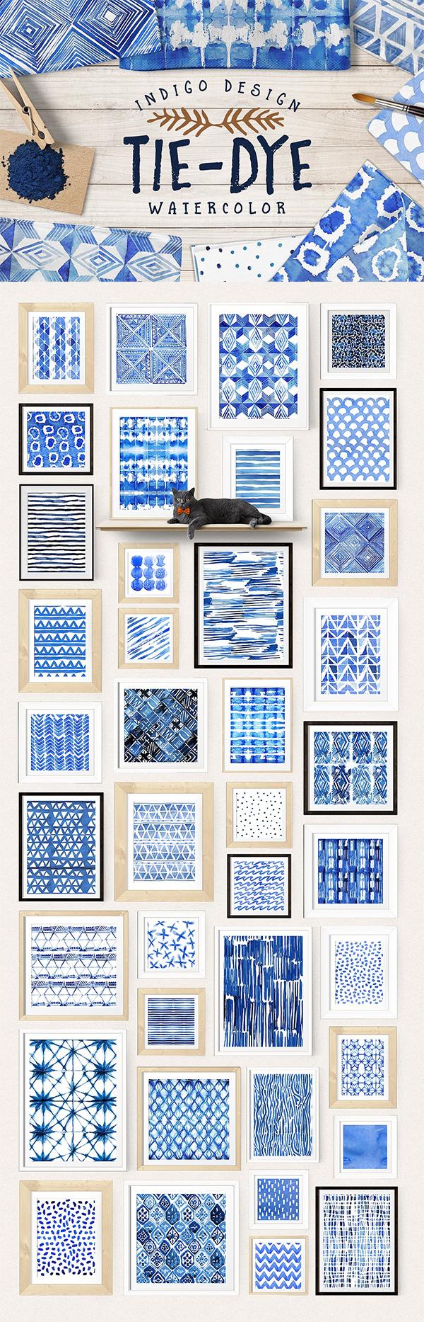 Tie-Dye watercolor patterns pack