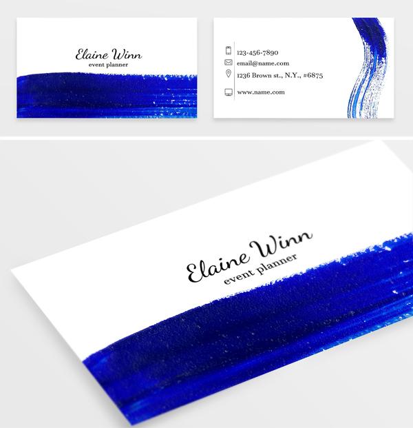 Indigo blue brush stroke card