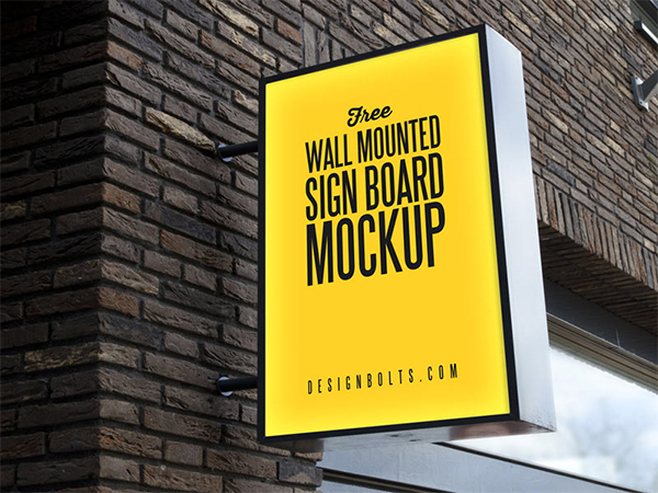 Outdoor Advertising Wall Mounted Sign Board Mockup