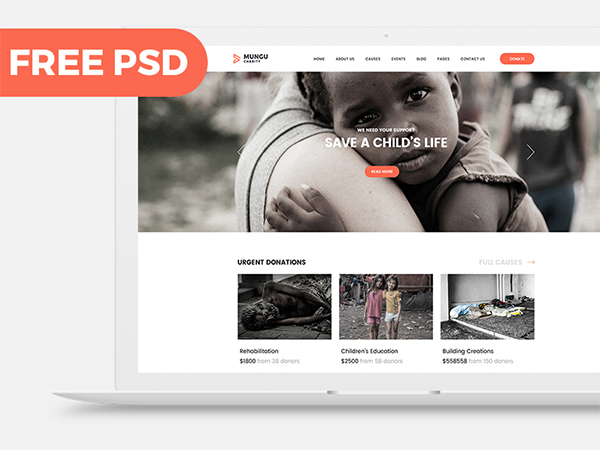 Charity Free PSD template