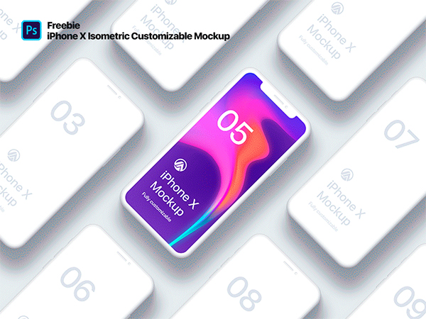 Freebie PSD iPhone X Clay Isometric
