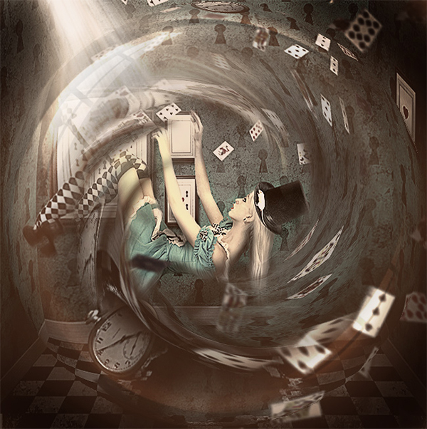 Alice In Wonderland Falling Down Photoshop Tutorial