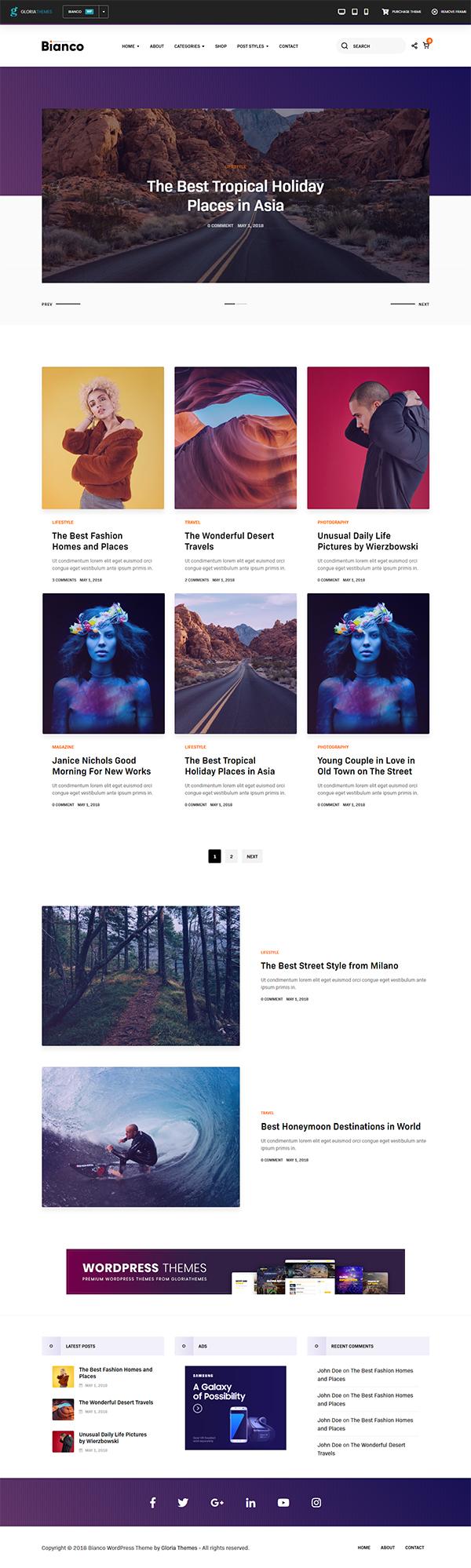 Bianco - A WordPress Blog & Shop Theme