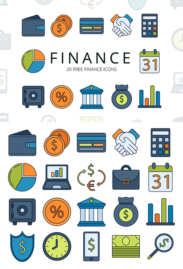 Finance Free Vector Icon Set