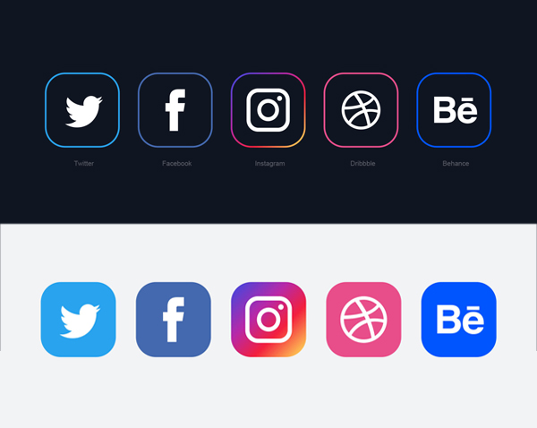 Minimal Social Media Icons 2018