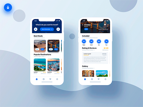 Freebie Travel App Light & Dark