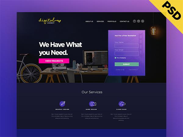 Digital Agency Website Template Design – Free PSD