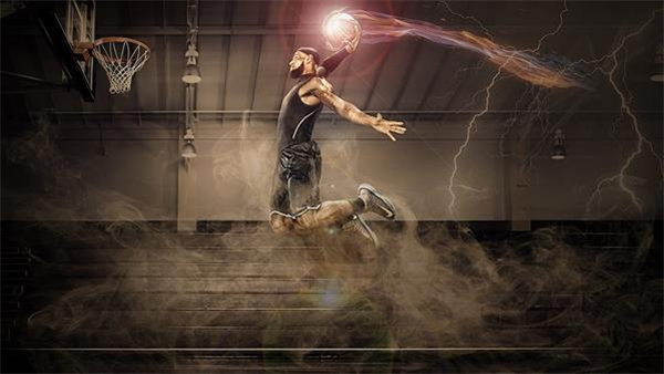 Sports Photoshop Tutorial Basketball Fire Slam Dunk