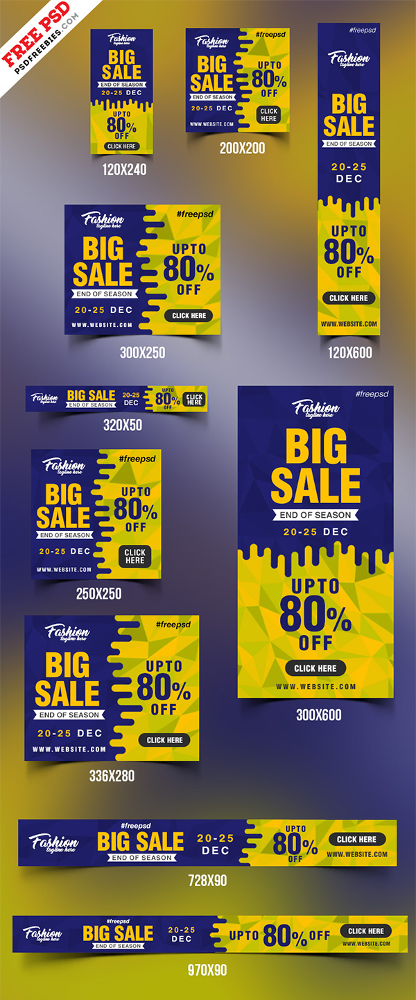 Free PSD : Big Sale Web Banner PSD Templates