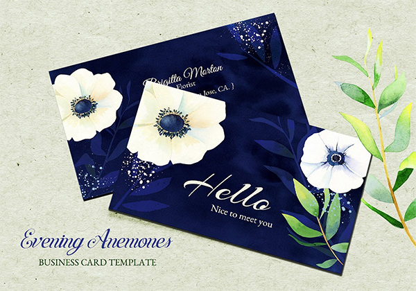 Watercolor Anemones Business Cards