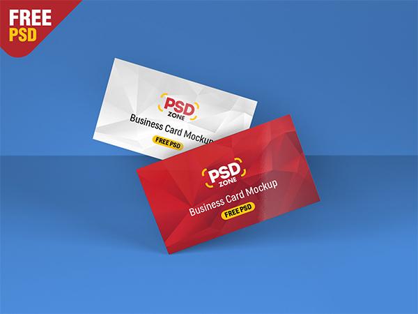 Floating Business Card Mockup Free PSD