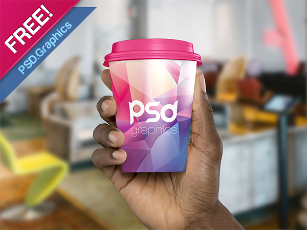 Paper Coffee Cup In Hand Mockup