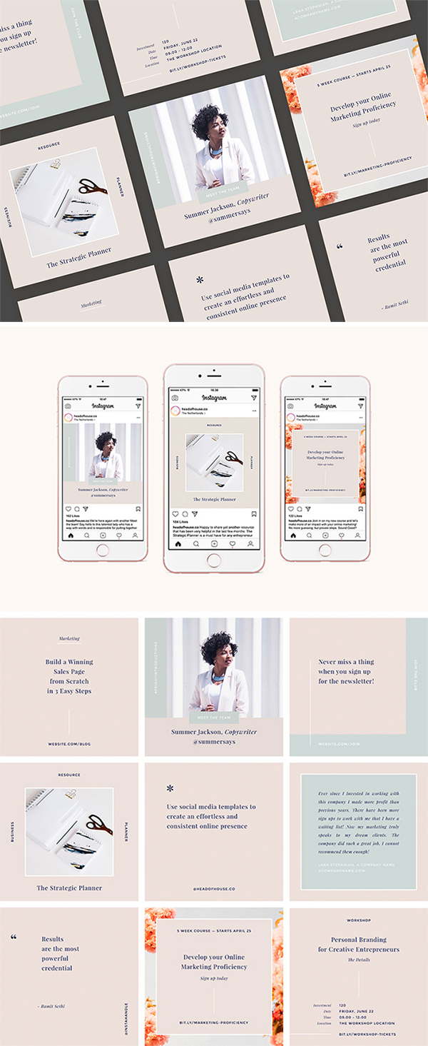 Awesome Instagram PSD Templates Kit Free Download