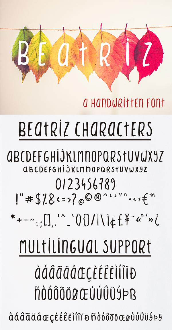 Mejores fuentes manuscritas elegantes para diseñadores - Fuente Beatriz Sans Serif