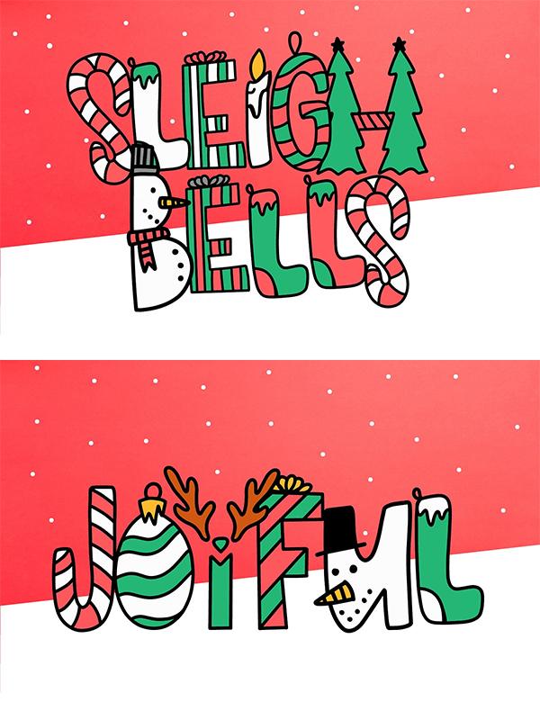 Mejores fuentes manuscritas elegantes para diseñadores - Sleigh Bells - Fuente de Navidad