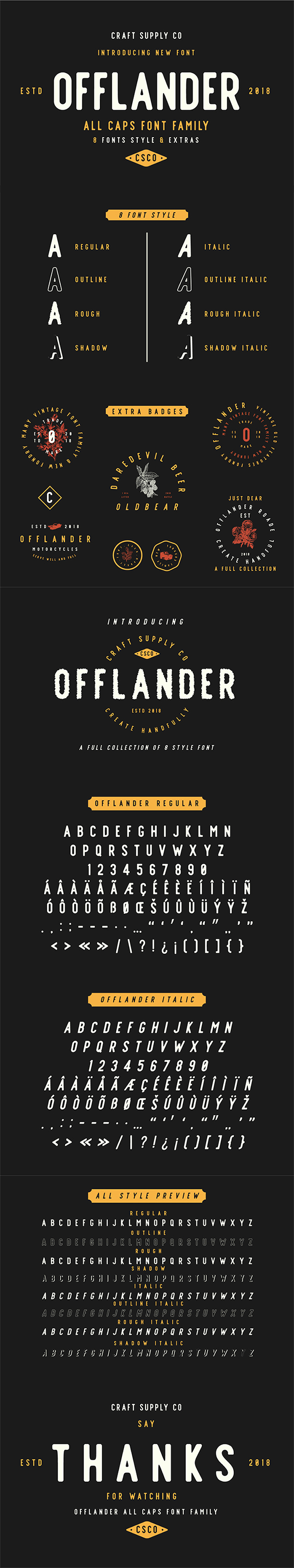 Freebie : Awesome Offlander All Caps Font & Extras For Designers