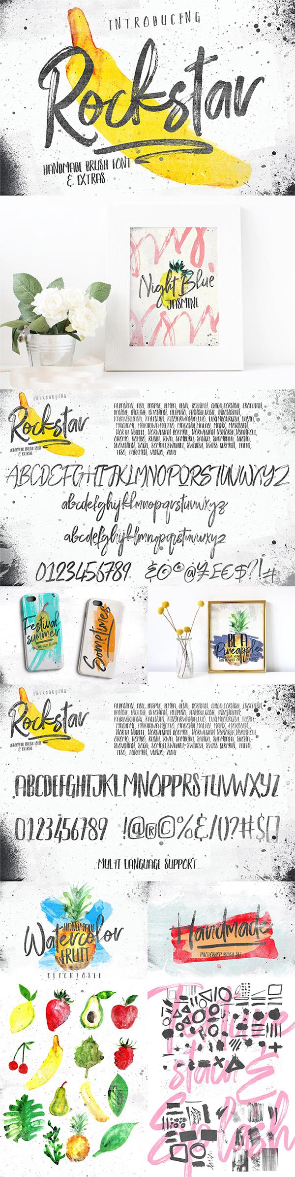 Handmade Brush Font & Photoshop Brush Set Free Download