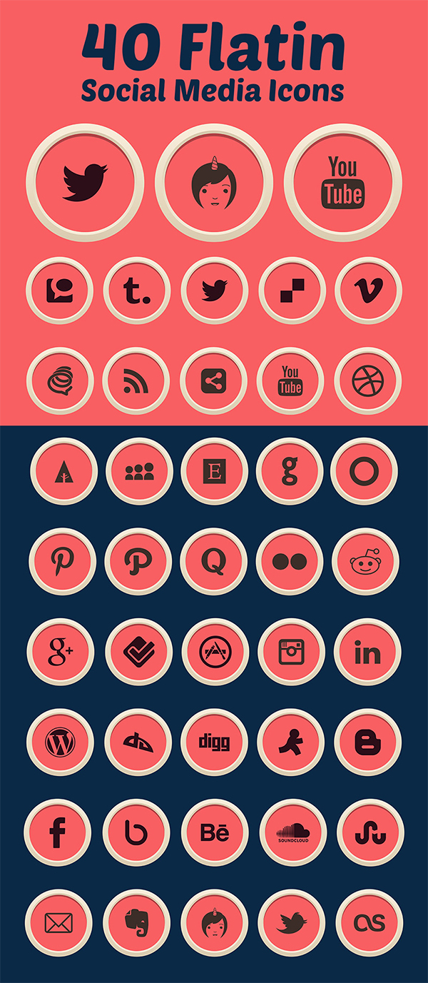 40 Free Flatin Social Media Icons