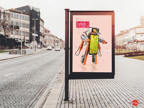 Free Roadside Advertising Banner Mockup PSD
