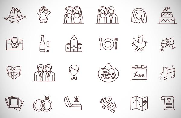 Free 24 Wedding Icons Set from Temploola