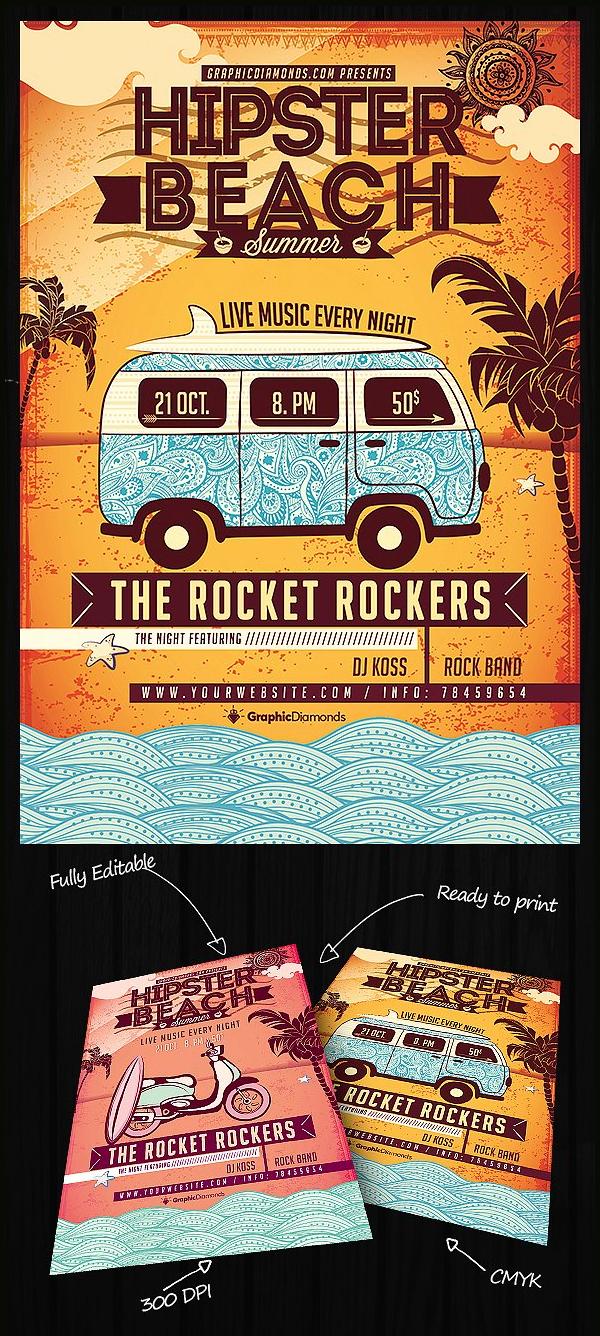 Hipster Beach Summer Flyer