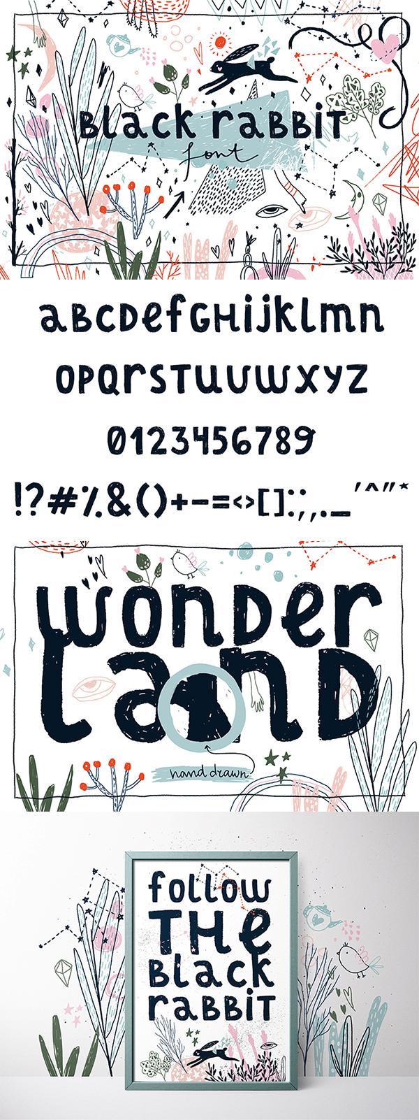 Freebie : Black Rabbit Hand-Drawn Font For Designers