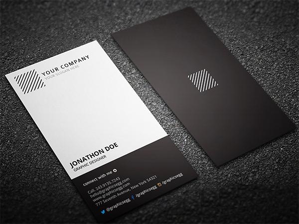 Clean Minimal Vertical Business Card