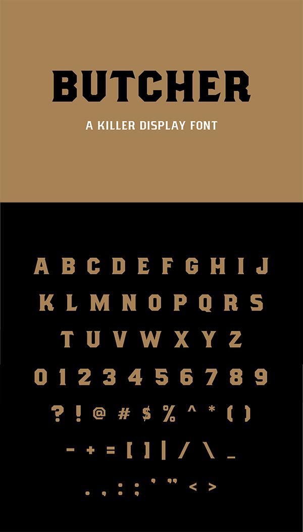 Mejores fuentes manuscritas elegantes para diseñadores - Fuente Butcher Killer Display