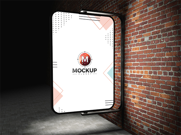 Free Street Advertising Billboard On Bricks Wall Mockup Psd