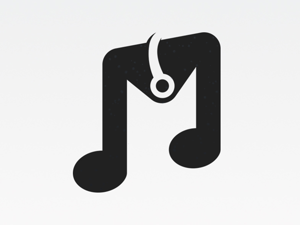 Music M Letter Logo Design