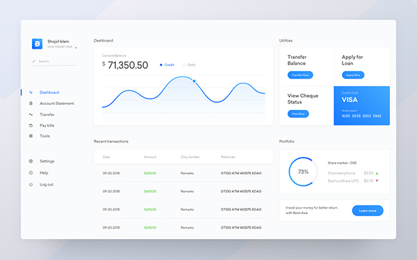Dashboard | Bank Asia Internet Banking | Redesign