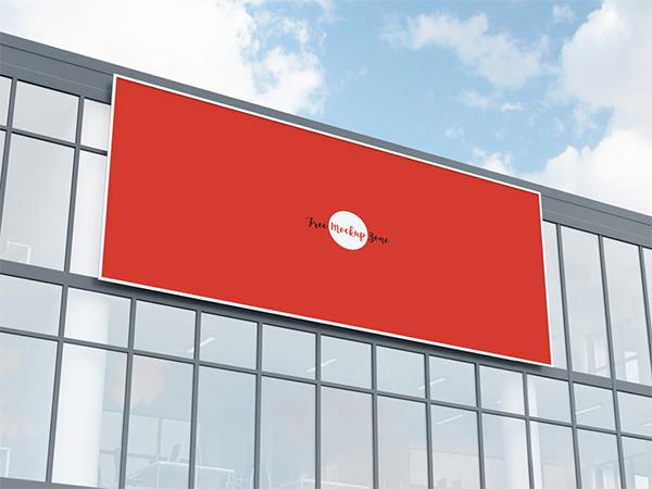Free Office Building Facade Billboard Mockup Psd