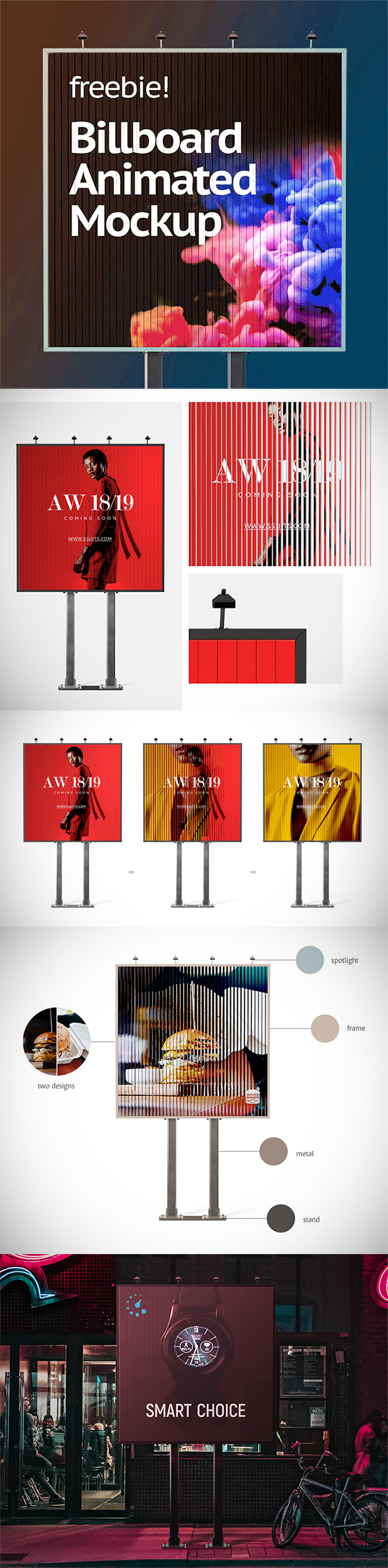 Awesome Outside Animated Billboard PSD Mockup Free Download