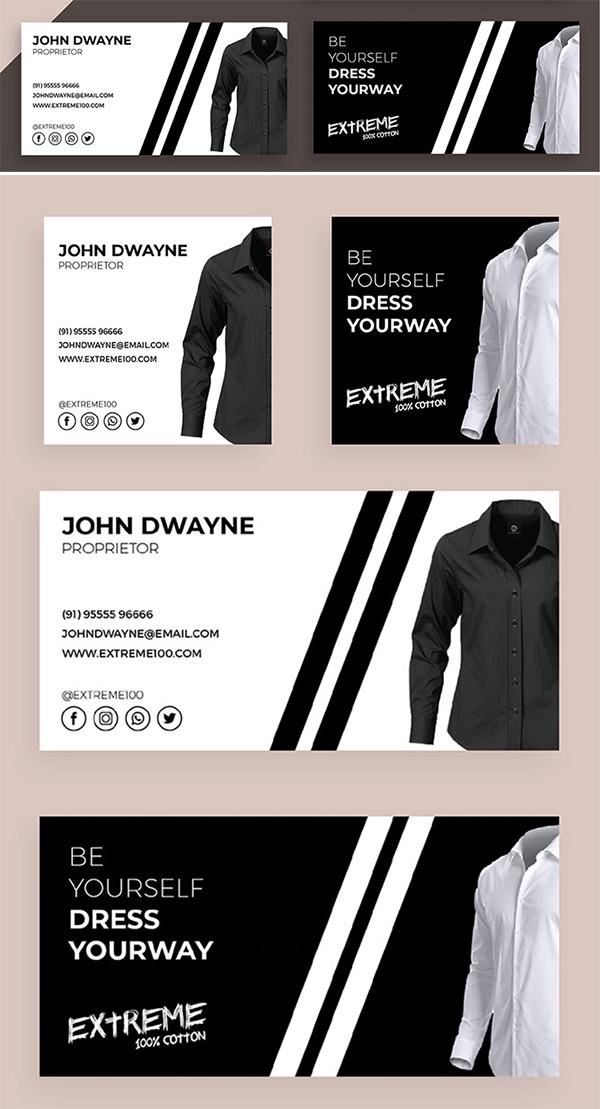 Freebie : Awesome & Stylish Clothing Industry Business Card Templates Design (PSD)