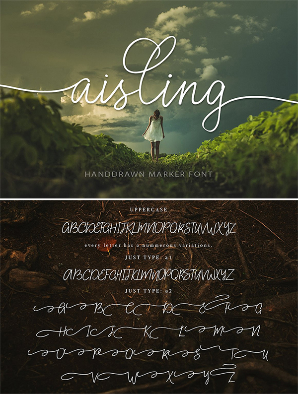 Freebie : Awesome Aisling Hand-Drawn Marker Font For Designers