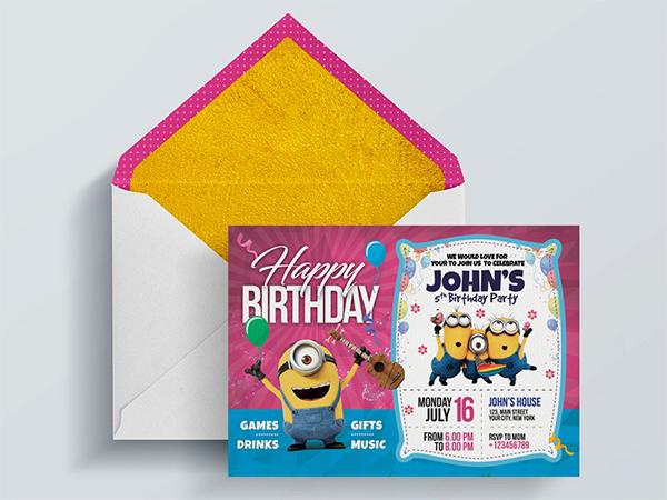 Kids Birthday Invitation Card PSD