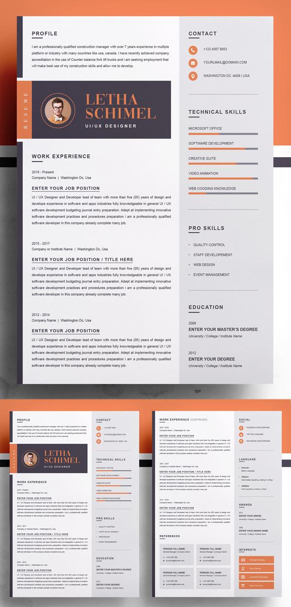 Modern & Clean Resume / CV Template