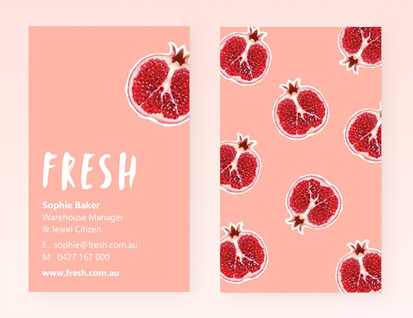 Fresh Pomegranate Business Cards