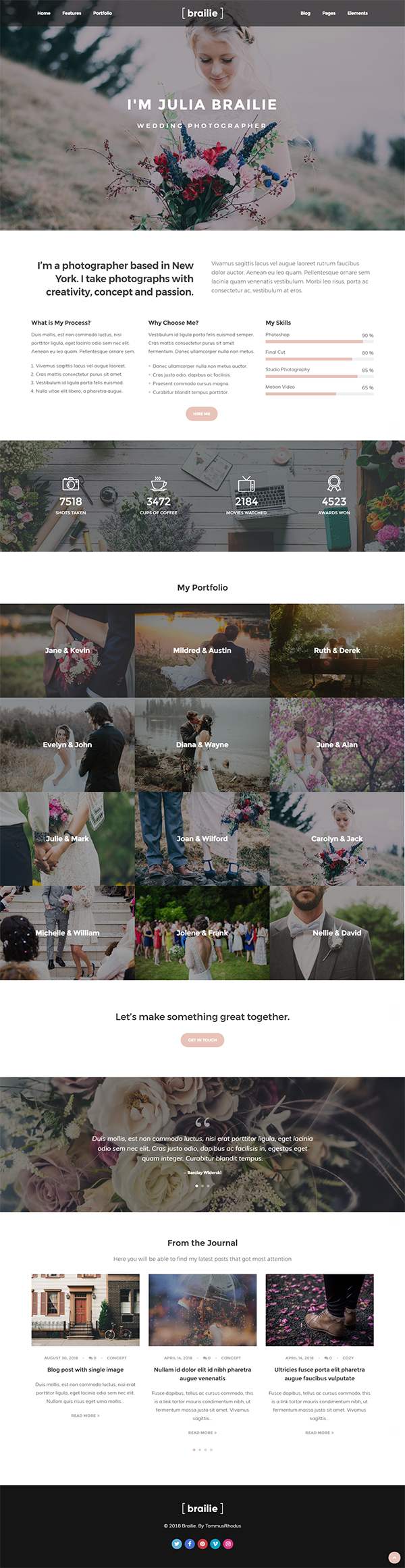 Brailie Photography Responsive WordPress Theme for Photography