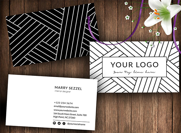 Stripes Black And White Business Card