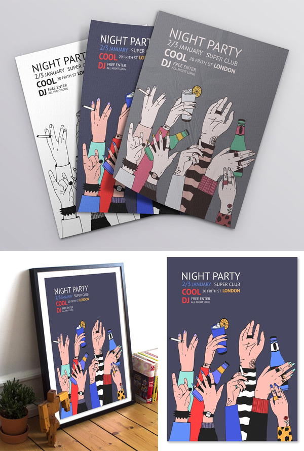 Poster For Party With Raised Hands